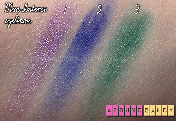 MUA - Intense Colour Eyeliners lilac blue green review swatches opinión