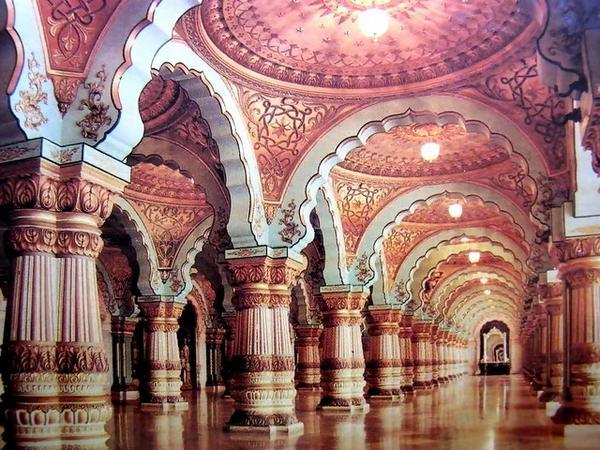 interior gilded work and carvings of amba vilas palace maharajas mysore palace india