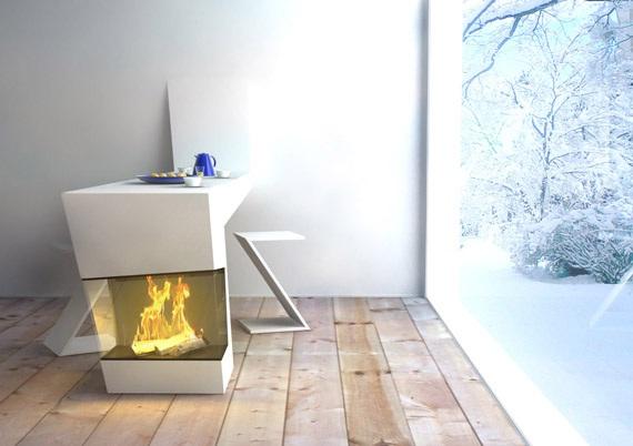 Decora y disena dise o moderno de mesa de cocina con chimenea - Chimenea de mesa ...
