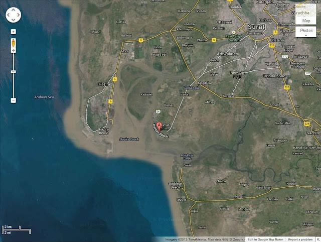 Google Map of Dumas Beach