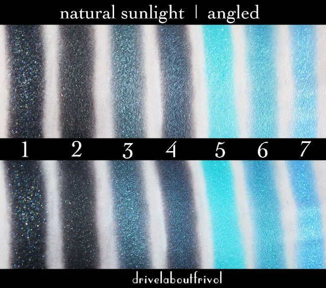 Fyrinnae eyeshadow swatches 1. Raven's Prophecy* 2. Dokkalfar 3. Jaguar 4. Sorceress* 5. Pteranodon 6. Sleepy Hollow 7. Bride of Frankenstein*