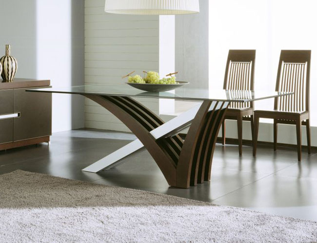Contemporary and modern dining tables wooden chair glass for Wooden glass dining table designs