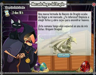 imagen del dragon origami en ele mercado negro del dragon