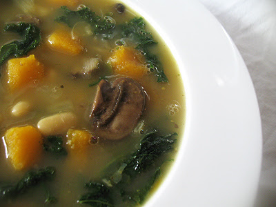 White Bean and Mushroom Soup with Butternut Squash and Kale