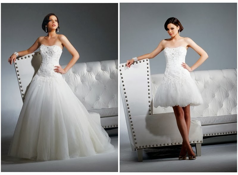 Tulle Strapless Straight Ball Gown 2 In 1 Wedding Dress