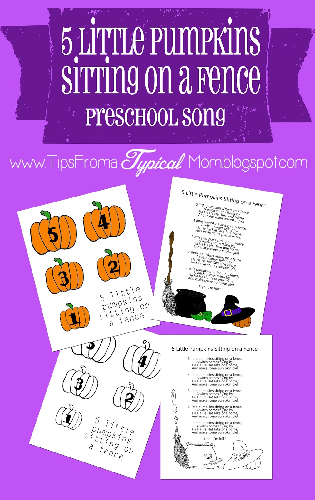 picture about 5 Little Pumpkins Printable titled 5 Small Pumpkins Sitting down upon a Fence Preschool Tune obtain