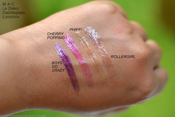 MAC Le Disko Collection Dazzleglass Lipgloss Swatches Lipglass Boys Go crazy Cherry Popping Phiff Rollergirl