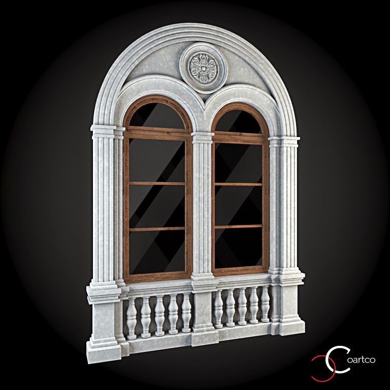 Ornamente Geamuri Exterior, Arcada fatade case cu profile decorative polistiren, profile fatada,  Model Cod: WIN-033