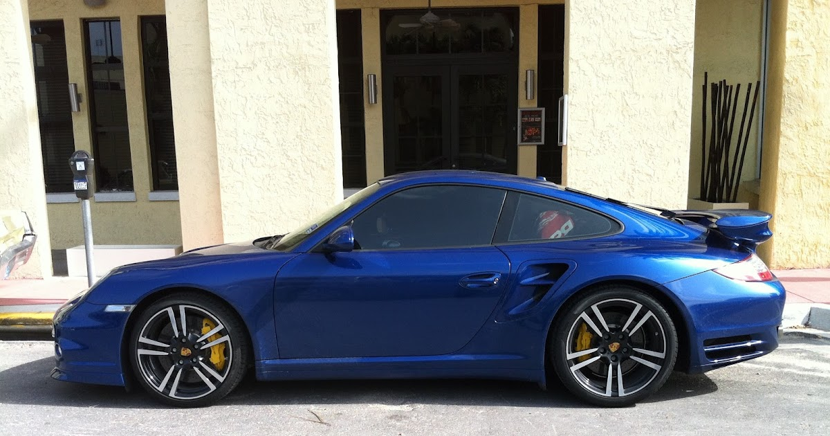 Blue Porsche 911 Turbo S With Custom Yellow Calipers