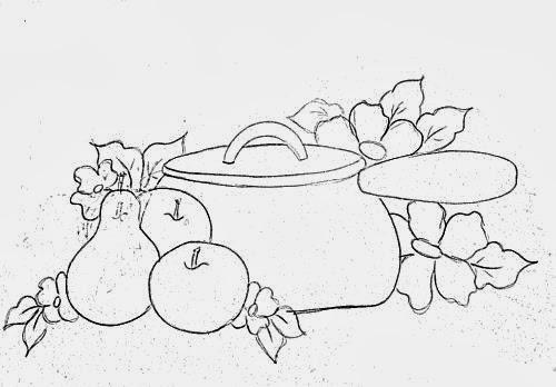 desenho de panela com frutas e flores para pintar em tecido