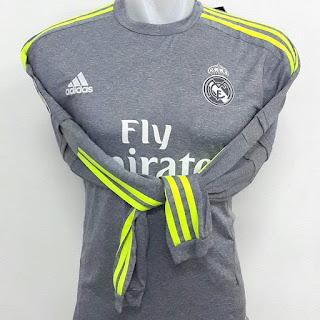 gambar desain terbaru photo kamera Jersey lengan panjang Real Madrid away terbaru musim 2015/2016 di enkosa sport kualitas grade ori toko online baju bola lokasi di jakarta pasar tanah abang