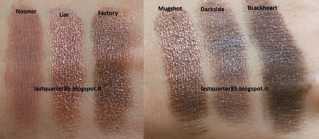 Urban Decay Naked 3: gli ombretti scuri. Da sinistra a destra Nooner, Liar, Factory, Mugshot, Darkside e BlackHeart.