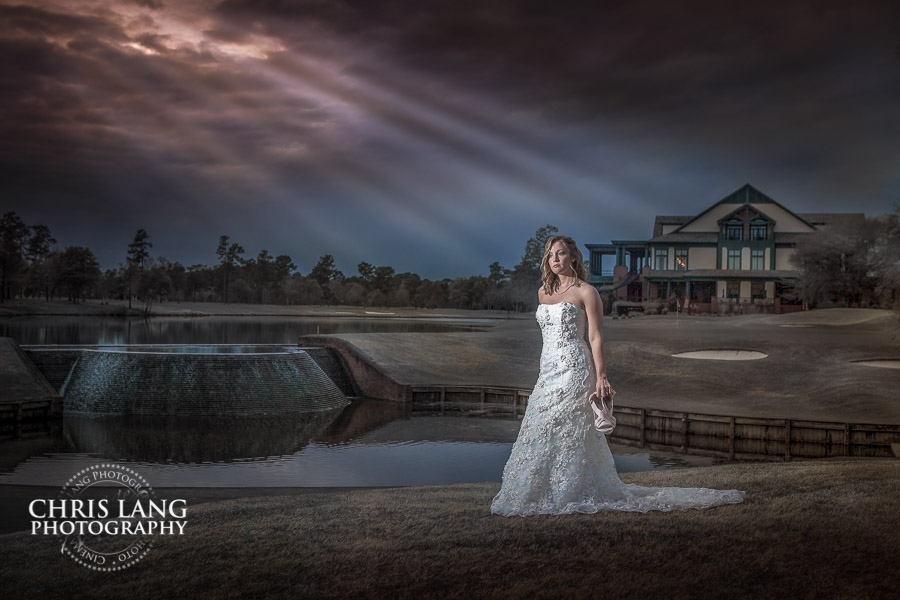 Dramitc bridal picture of bride at sunset at River Landin - River Landing Wedding Photography - Wedding picture ideas