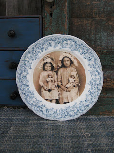 old china plate with photo print