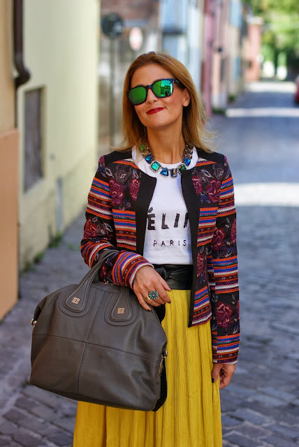 maxi skirt, ethnic print jacket, Urban Gypsy look, Fashion and Cookies, fashion blogger