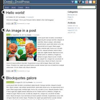 DroidPress Blogger Template convert from wordpress theme to blogger. minimalist design blogspot template