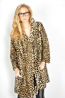 Vintage 1960's leopard print faux fur mod pea coat.