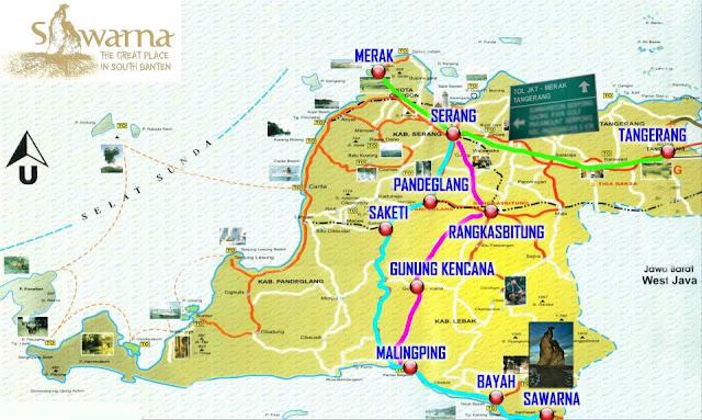 Peta Rute Menuju Pantai Sawarna Bayah Banten