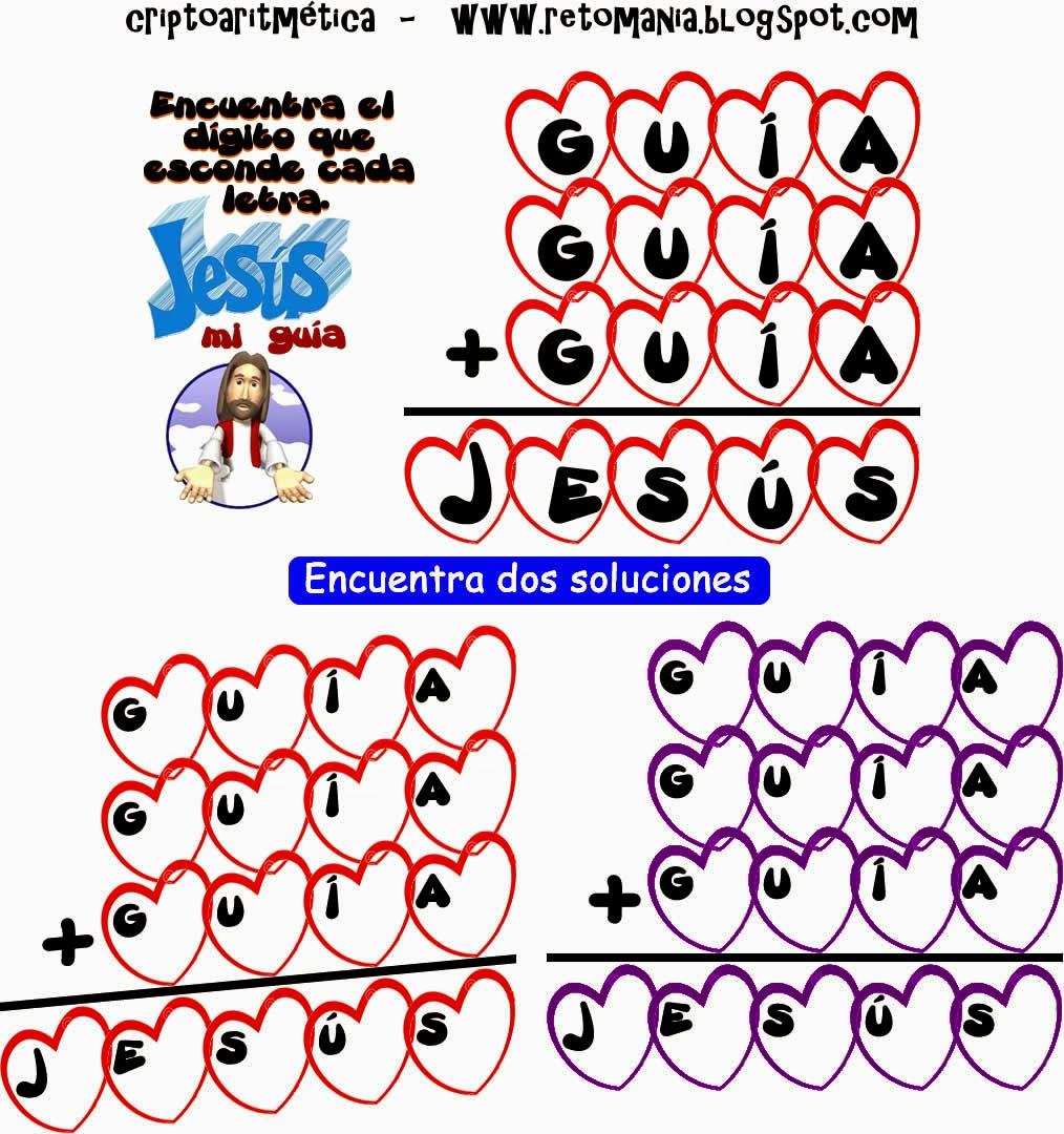 Retos matemáticos, Desafíos matemáticos, Problemas matemáticos, Semana Santa, Jesús, Dios, Criptoaritméticas, Alfaméticas, Criptogramas, Criptosumas