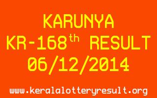 KARUNYA Lottery KR-168 Result 06-12-2014