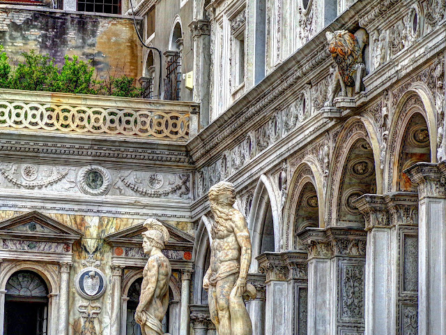 Mars and Neptune flanking the Scala dei Giganti (Giants Stair Case) With Winged Lion- Court Yard of the Doge's Palace - Venice, Italy