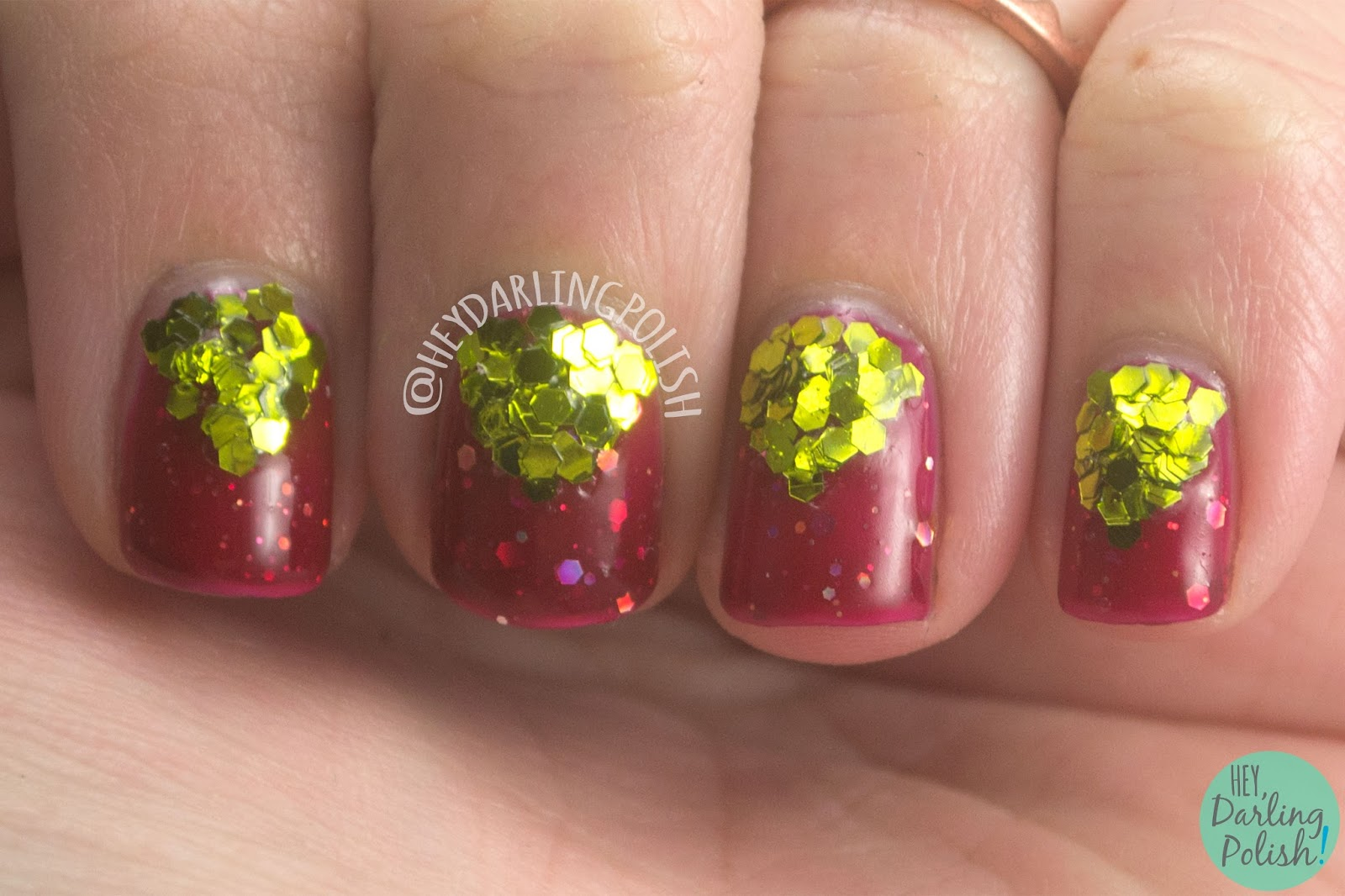 nails, nail art, nail polish, red, gold, glitter, indie polish, indie nail polish, shirley ann nail lacquer, hey darling polish, 52 week challenge