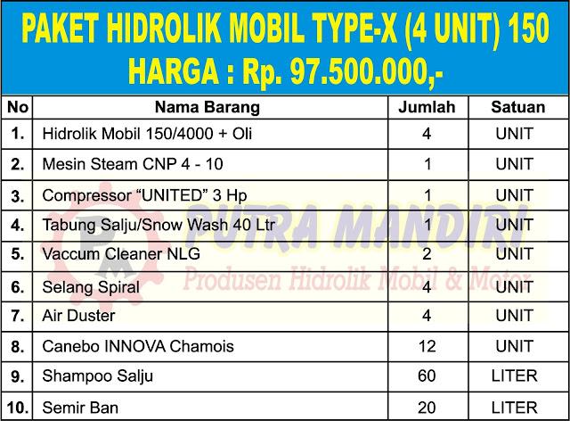 PAKET HIDROLIK MOBIL TYPE-X (4 UNIT) 150
