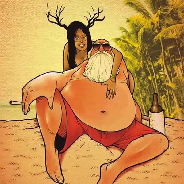 Julemanden med sin hjælper, på stranden i troperne
