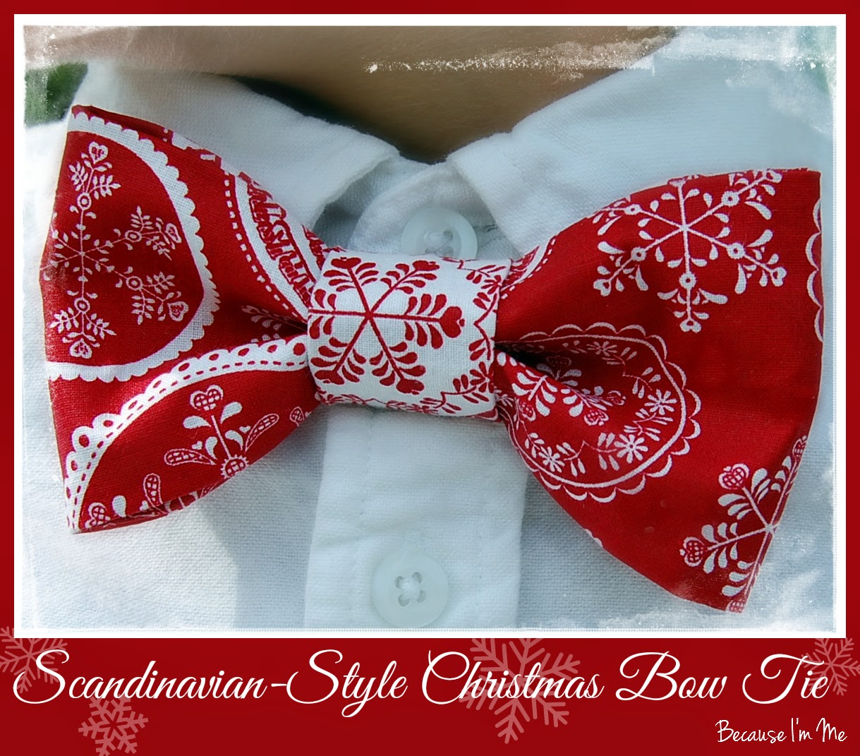 Because I'm Me Scandinavian Style Christmas cotton bow tie for men and boys