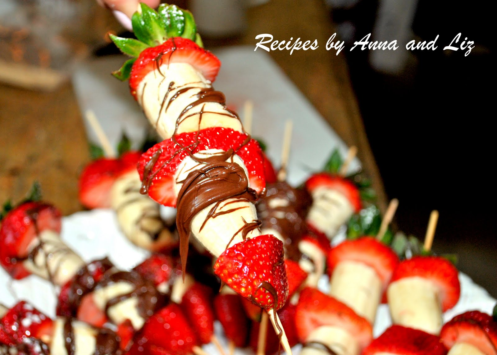 Fruit Kebabs With Melted Chocolate Recipe — Dishmaps