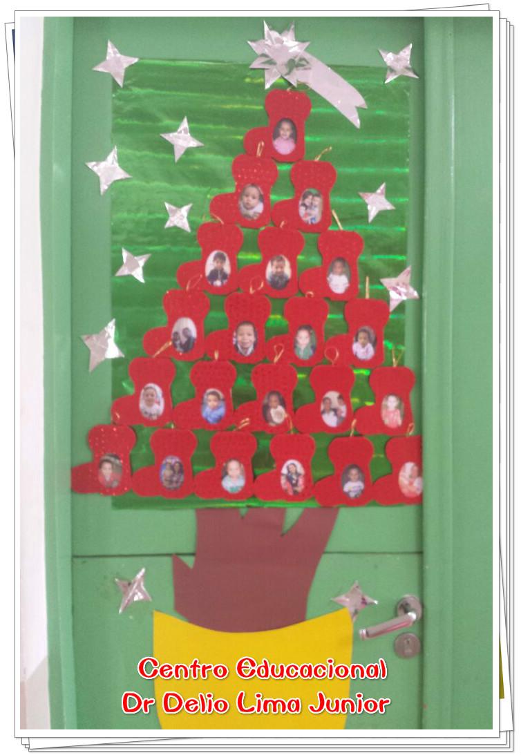 Decoração de Porta Natal Árvore de Botinhas