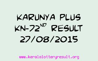 Karunya Plus KN 72 Lottery Result 27-8-2015