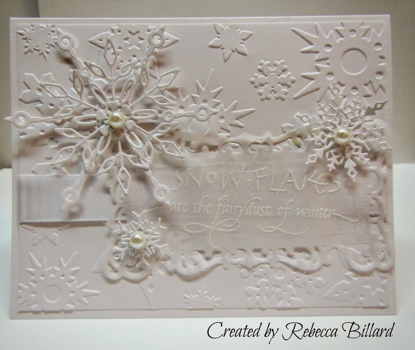 Rebecca from The Rock Crafty Corner: White on White Christmas Card