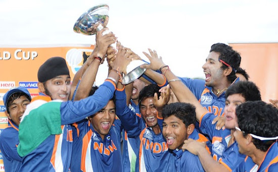 India celebrate their win with Under-19 World Cup