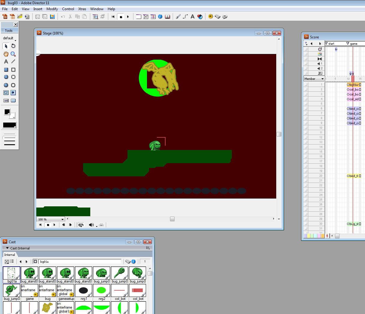 A look behind the fourth wall: Some starter sprites with their collision all akimbo.