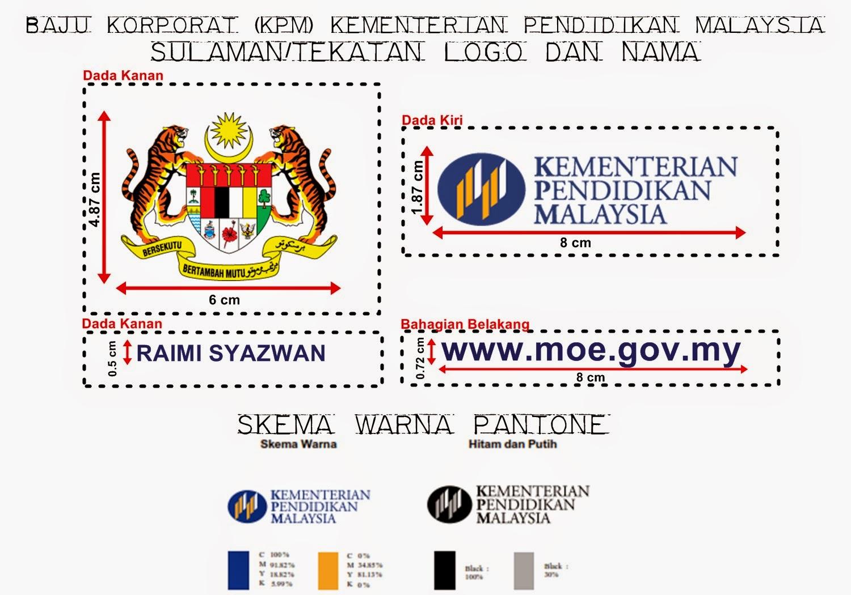 Sulaman/Tekatan Logo dan Nama untuk Baju Korporat (KPM) Kementerian Pendidikan Malaysia