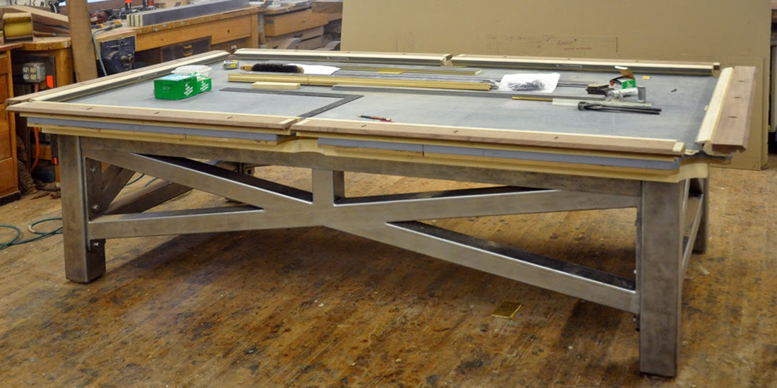 Ok .. Weu0027ve Gopt Another Steel And Wlanut Pool Table Going Here .. Same As  The One Below From 2012, Only An 8 Footer Instead Of A Full Size 9 Foot  Table . ...