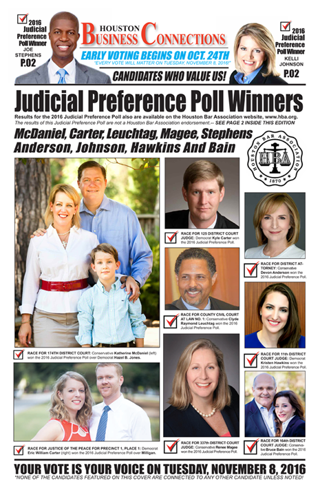 HOUSTON BAR ASSOCIATION 2016 JUDICIAL PREFERENCE POLL RESULTS