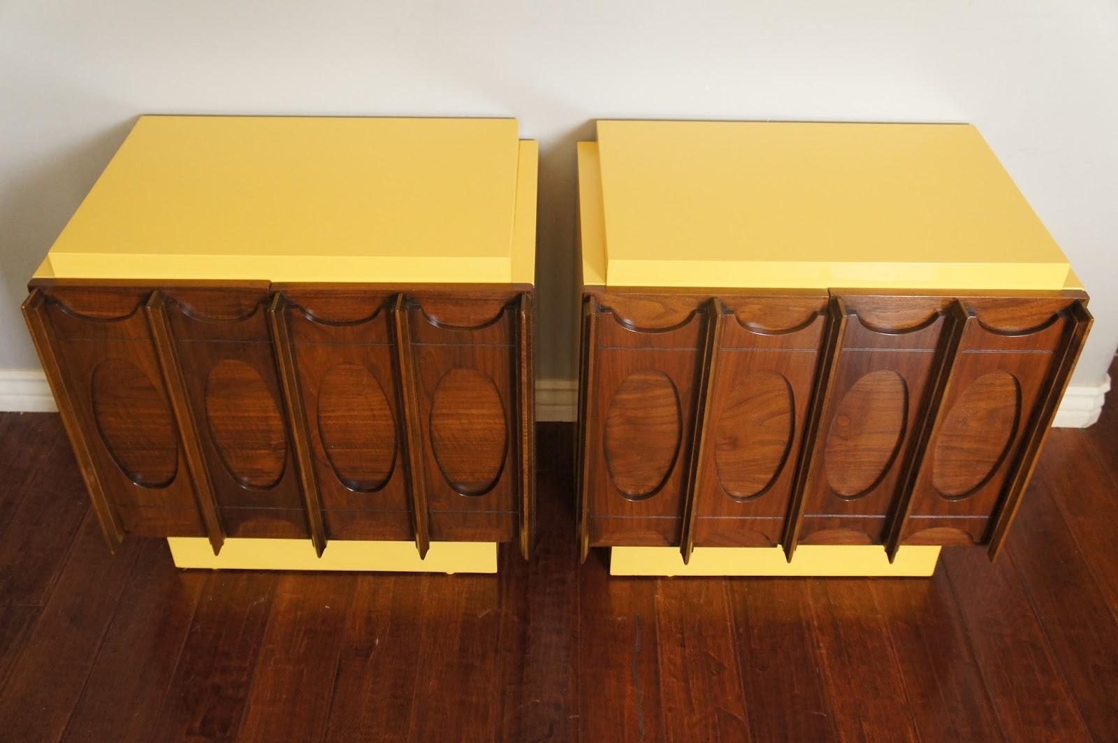 European Paint Finishes 2 Vintage Nighstands Brutalist Style Retro Yellow Brown