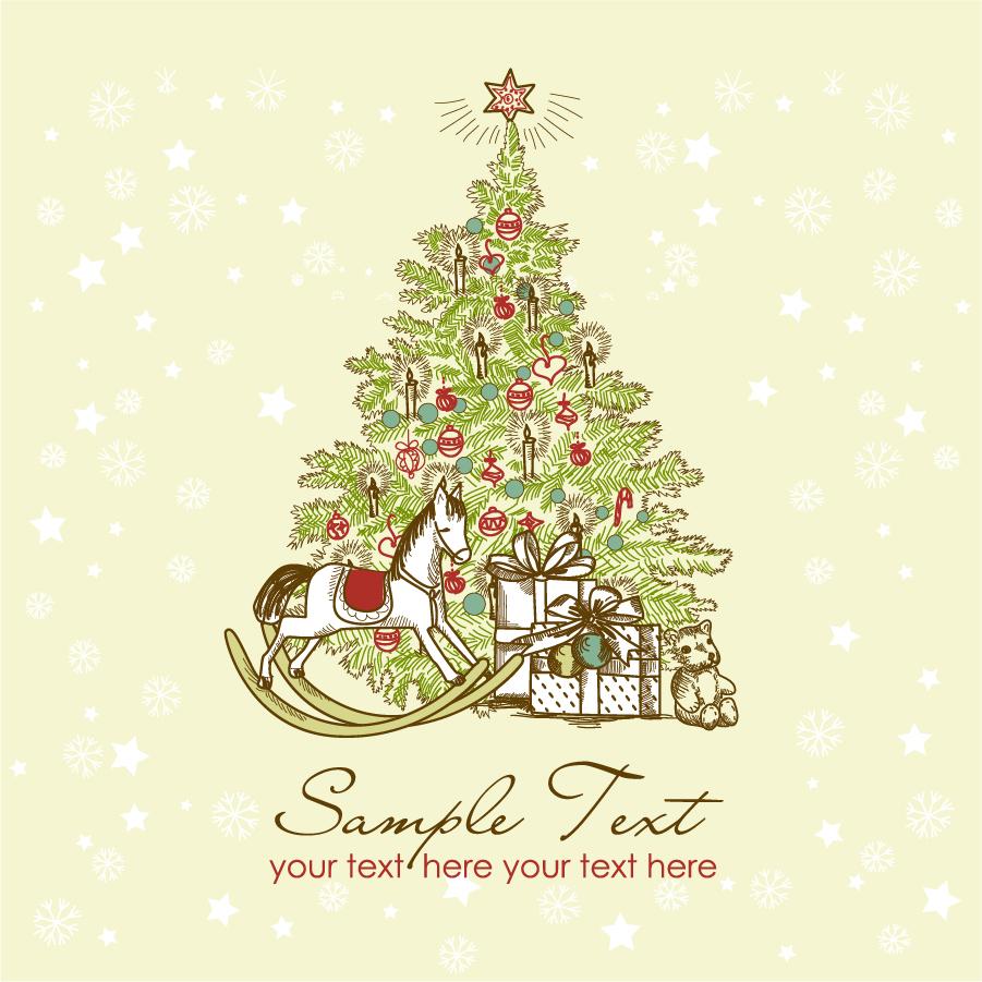 free vector がらくた素材庫: クリスマス・リースと家族 beautiful