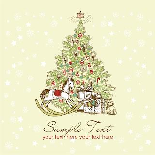 クリスマス・リースと家族 beautiful christmas wreath vector イラスト素材3
