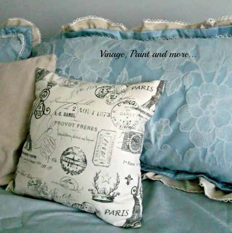Updated Master Bed - French topography pillow, using decorator pillows on the bed