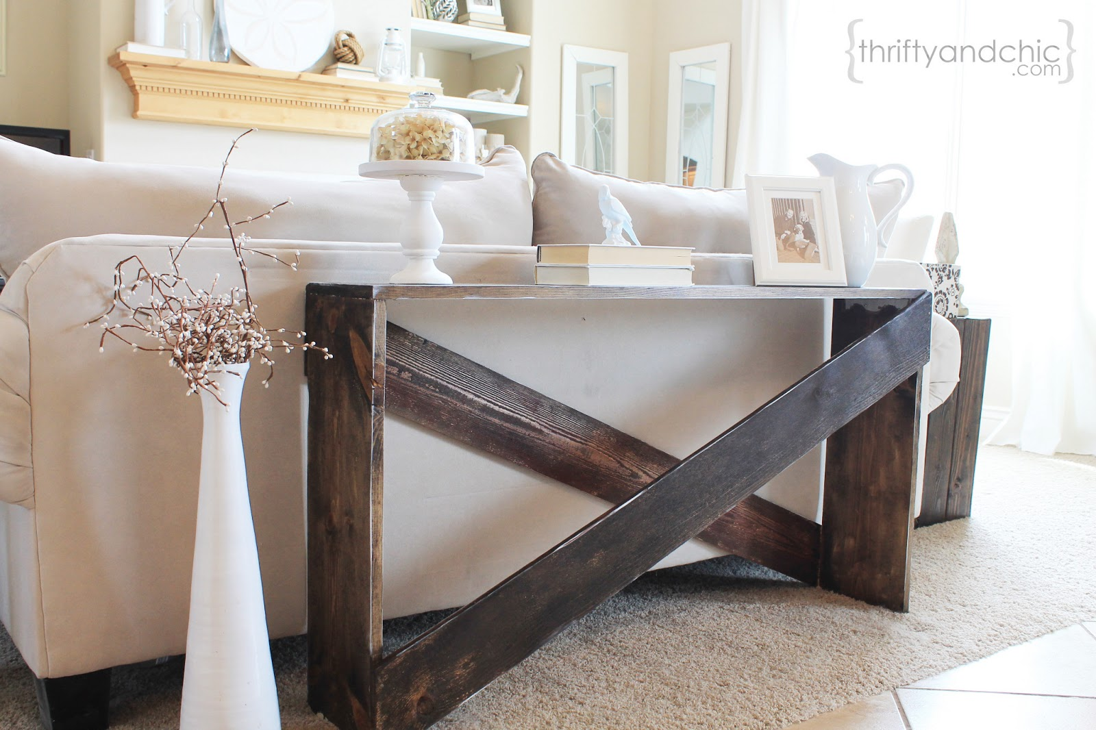 Thrifty and chic diy projects and home decor for Side table for sectional sofa