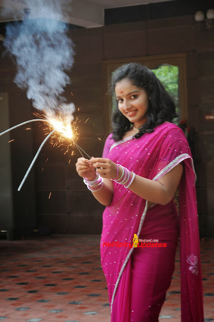 Malvika Menon Diwali Celetions in Cute Saree Stunning Beauty