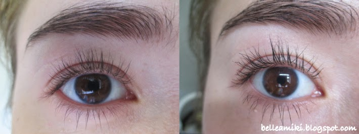 Left: Bare Lashes, Right: One Coat Lights, Camera, Flashes On Top And  Bottom Lashes