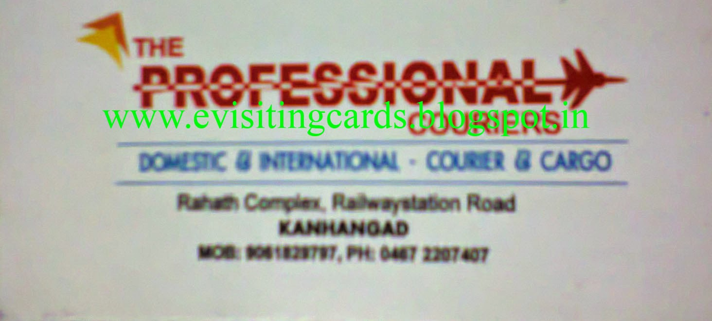 Visiting Card Directory: Courier and Cargo Service in Kanhangad