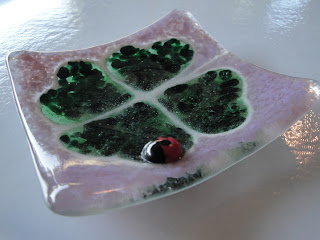 Four Leaf Clover Fused Glass Frit Dish with Ladybug