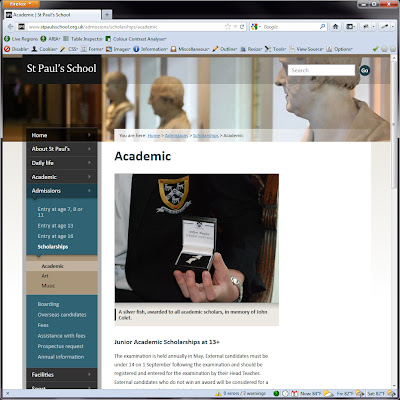 Screen shot of http://www.stpaulsschool.org.uk/admissions/scholarships/academic.