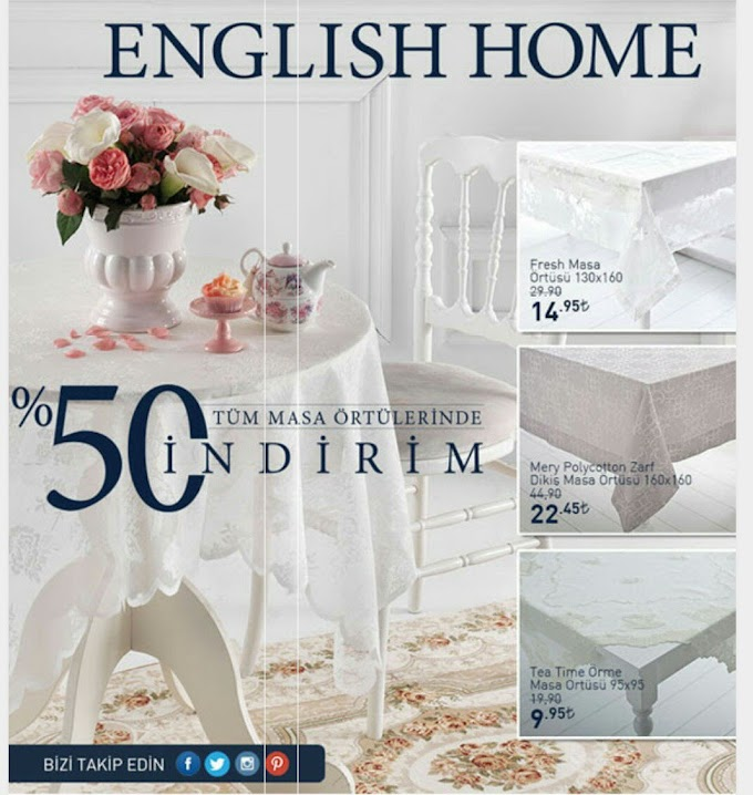English Home'dan Masa Ortusu Indirimi