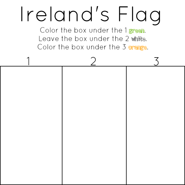 This coloring page has the added bonus of providing an opportunity to teach about ireland and its flag